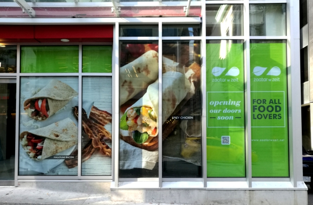 Restaurant Custom Window Graphics » Superwide Printing on Specialty Media » Installation
